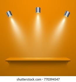Realistic yellow shelf on the wall with illumination, vector illustration