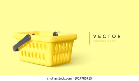 Realistic yellow shopping cart with shadow isolated on yellow background. Vector illustration