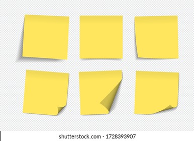 Realistic yellow sticky notes isolated with real shadow on white background. Square sticky paper reminders with shadows, paper page mock up.