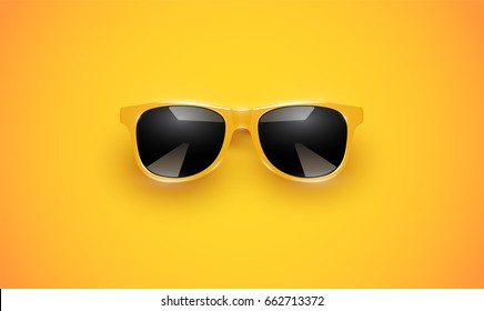 Realistic yellow sunglasses on yellow background, vector illustration