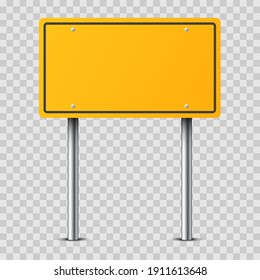 Realistic yellow traffic sign on metal pole isolated on transparent background. Rectangular blank traffic road empty sign. Mockup template for your design. Street traffic sign, road signpost direction