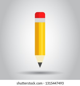 Realistic yellow wooden pencil with rubber eraser icon in flat style. Highlighter vector illustration on white background. Business concept.