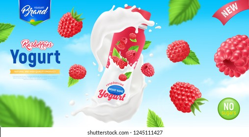 Realistic yogurt poster with abstract composition flying raspberries in the air around yogurt packaging vector illustration