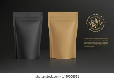 Realistic Zip Package blank mockup template with concept of coffee logo for advertising and presentation. Coffee package for logo and brand design. Zip package mock-up Vector 3d illustration