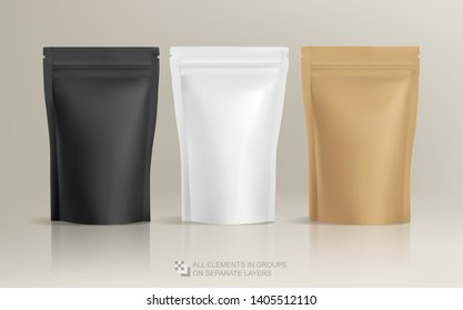 Realistic Zip Package design - blank mockup template isolated for presentation and advertising. Coffee packge for logo and brand design. Coffee zip package mock-up Vector 3d illustration