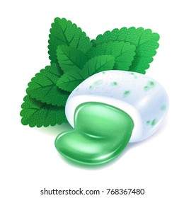 Realistick chewing gum pellet with menthol green filling with mint leaves. Minty bubble gum.