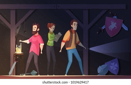 Reality quest cartoon vector illustration with adult people locked in dark room and looking for escape