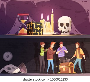 Reality quest horizontal banners with escape room and find treasure game cartoon compositions vector illustration