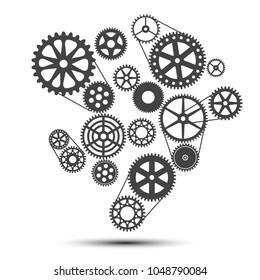 Realization concept, clockwork - stock vector
