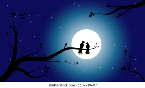 Really beautiful vector illustration of a night scene with full moon. The silhouette of two birds and tree branches can be seen. The sky is dark blue. Its a romantic themed art.