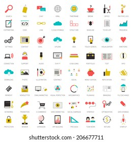 Really big set of 64 modern flat icons on SEO and internet usage. Search optimization, keywording, data visualization, interface planning, social networking  teamwork symbols. Each icon labeled.