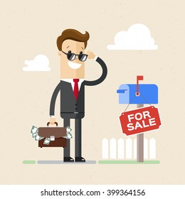 """Realtor or businessman is standing with a briefcase full of money near to a sign """"for sale"""". Illustration, vector"""