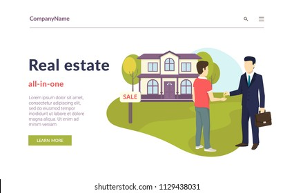 Realtor giving a home key chain to a confident male buyer. Flat concept vector website template and landing page design of succes deal, real estate and apartments invetments