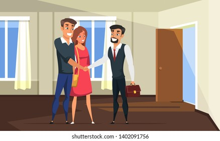 Realtor selling building to family vector illustration. Businessman, young married couple cartoon characters. Real estate purchase flat drawing. Wife, husband buy house. Own property, apartment deal