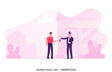 Realtor Selling or Renting House to Young Man Buying Home. Manager Male Character Wearing Formal Suit Make Deal with Owner of House Giving him Key for New Living Place Cartoon Flat Vector Illustration