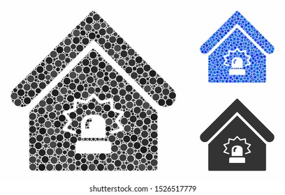 Realty alarm mosaic for realty alarm icon of round dots in different sizes and color hues. Vector round dots are grouped into blue mosaic. Dotted realty alarm icon in usual and blue versions.