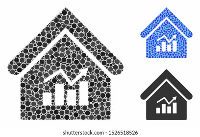 Realty charts composition for realty charts icon of circle elements in various sizes and shades. Vector round dots are grouped into blue composition.