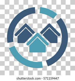 Realty Diagram icon. Vector illustration style is flat iconic bicolor symbol, cyan and blue colors, transparent background. Designed for web and software interfaces.