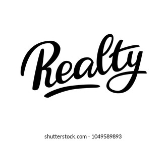 Realty - Handwritten vector logo,  Hand sketched card Realty. Hand drawn Realty lettering sign. Motivation Banner, postcard, poster, stickers, tag. Realty Vector illustration