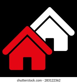 Realty icon from Business Bicolor Set. Vector style: bicolor flat symbol, red and white colors, rounded angles, black background.
