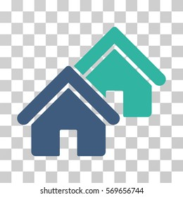 Realty icon. Vector illustration style is flat iconic bicolor symbol, cobalt and cyan colors, transparent background. Designed for web and software interfaces.