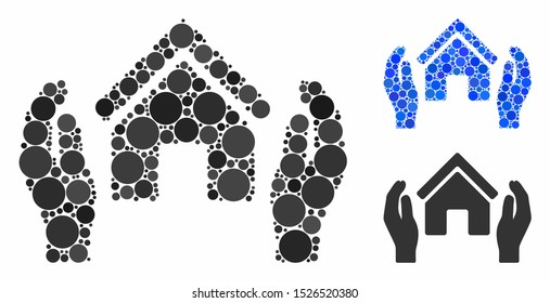 Realty insurance hands composition for realty insurance hands icon of small circles in various sizes and color hues. Vector round elements are combined into blue composition.