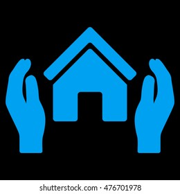 Realty Insurance Hands icon. Vector style is flat iconic symbol, blue color, black background.