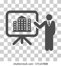 Realty Presention icon. Vector illustration style is flat iconic symbol, gray color, transparent background. Designed for web and software interfaces.