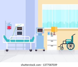 Reanimation clinic room. Health care and medicine concept. Vector flat graphic design illustration