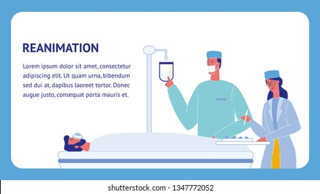 Reanimation Flat Vector Template with Text Space. Emergency Room. Ambulance. Unconscious Patient on Bed. Doctor and Nurse Characters. Surgeon In Operating Room. Intravenous Drip in Hospital
