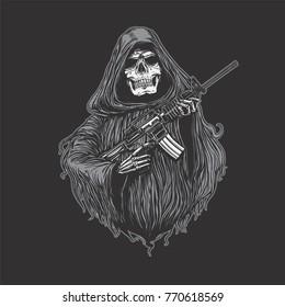 Reaper with machinegun, Grim reaper holding riffle