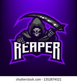 Reaper with Scythe Logo for Sport and esport isolated on dark Blue background