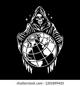 Reaper stands over the planet on a black background. Vector file.