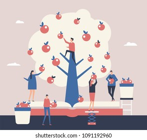 Reaping the harvest - flat design style illustration. A composition with cute characters, office workers or businessmen picking up apples from the tree. Effective and successful business concept