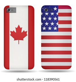 Rear covers smartphone with flags of USA and Canada