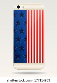 Rear covers smartphone with flags of USA