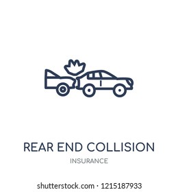 Rear end collision icon. Rear end collision linear symbol design from Insurance collection.
