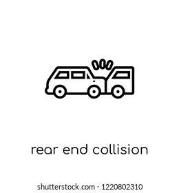 Rear end collision icon. Trendy modern flat linear vector Rear end collision icon on white background from thin line Insurance collection, editable outline stroke vector illustration