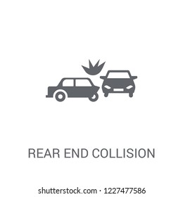 Rear end collision icon. Trendy Rear end collision logo concept on white background from Insurance collection. Suitable for use on web apps, mobile apps and print media.