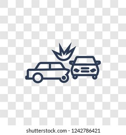 Rear end collision icon. Trendy linear Rear end collision logo concept on transparent background from Insurance collection