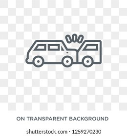 Rear end collision icon. Trendy flat vector Rear end collision icon on transparent background from Insurance collection. High quality filled Rear end collision symbol use for web and mobile