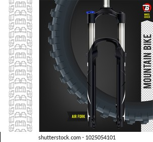 Rear Tire. Mountain Bike Suspension. Air fork. Realistic vector.  Tire for truck tractor motorbike side view. Mountain bike tire.