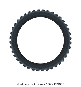 Rear Tire. Tire for truck tractor motorbike side view. Mountain bike tire. Vector isolated illustration.