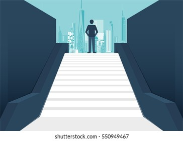 Rear view of a businessman climbing stairs to get to a large city center. Concept of success and appreciation. vector design cartoon.
