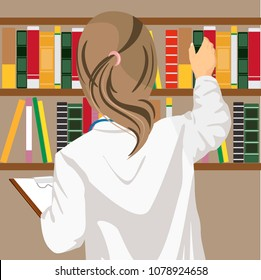 Rear view of female doctor pulls a medical journal out of the bookshelf in doctor's office