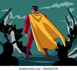 Rear view full length illustration of a cartoon brave superhero standing alone in confrontation with the forces of evil as concept for courage and positive power.