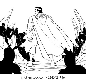 Rear view line art illustration of cartoon brave superhero standing alone in confrontation with the forces of evil as concept for courage and positive power.