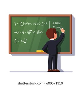 Rear view of man teacher or student writing formulas on a green classroom chalkboard  holding chalk in right hand. University or school education concept. Flat style vector isolated illustration.
