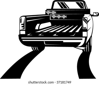 Rear view of a pick up truck