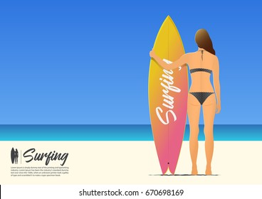Rear view silhouette of beautiful sexy surfer girl in bikini holding her surfboard on the summer beach. Beach holiday poster. Vector Illustration